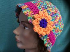 adult bright colorful hat hand crochet back by Yarnhotoffthehook