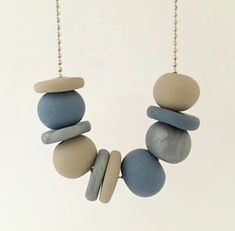 Blue, Latte and Silver Polymer Clay Necklace