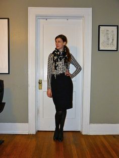 black pencil skirt, houndstooth sweater, floral scarf