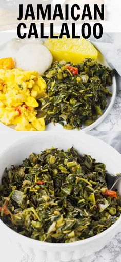 Jamaican Callaloo is a popular local staple green leafy vegetable cooked with onion garlic tomatoes thyme and Scotch bonnet pepper. Perfect healthy side dish for a tropical breakfast lunch or dinner. Vegan Dinner Recipes, Delicious Vegan Recipes, Vegan Dinners, Veggie Recipes, Vegetarian Recipes, Healthy Recipes, Vegan Potluck, Healthy Meals, Healthy Sides