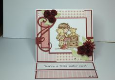 """(Ref:H29) 15cm x 15cm easel card. LOTV stamped image coloured with Promarkers. Backing papers Nitwit download """"Always  Forever"""". Dies used, Doohickey flourish, La La Land Berry Flourish, Marianne rolled roses, Dienamics rolled daisy."""