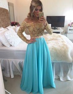 $154.99 2017 Prom Dresses Long Sheath/Column Bateau Chiffon Blue