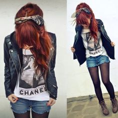 Leather jacket, vintage tee, shorts, tights, cute boots and head scarf.