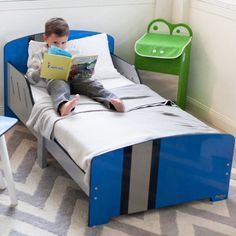 "A playfully smart transition to a ""big kid"" bed! Children will love to cozy up in this classically cool bed and drift off into dream land. Fits any standard siz Cool Toddler Beds, Toddler Chair, Toddler Platform Bed, Kids Table And Chairs, Nursery Crib, Crib Mattress, Cool Beds, Bed Sizes, Baby Cribs"