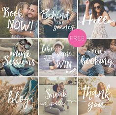 Turn your photography into stunning images that are definitely worth sharing on Facebook and Instagram with these free photography overlays.  This 'Social media' edition features a nice mix of hand lettered words such as 'Book now,' 'Behind the scenes', 'Thank You', 'Sneak Peek', 'Like and share' and much more.  There are a total of nine photography overlays
