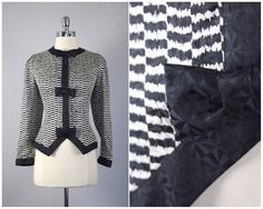 vintage 80s does 40s black and white silk by PinkhamRoadRetro
