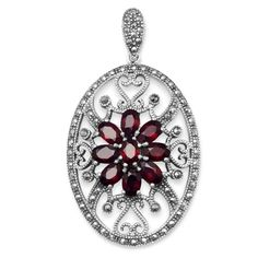 Oval Marcasite and Garnet Pendant Sterling silver marcasite 28mm x 55mm oval pendant swirl heart designs and nine 9mm x 11mm garnets. .925 Sterling Silver