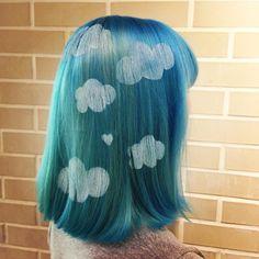 #blue #hair Cloud art hair stencil!