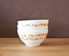 Opal milk glass bowls  Three arcopal orange par FrenchBaguette, €12.00