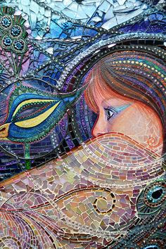 SOLD Masquerade mixed media mosaic peacock by NikkiEllaWhitlock Mosaic Art, Mosaic Glass, Stained Glass, Glass Art, Art Nouveau, Hybrid Art, Mosaic Portrait, Mosaic Projects, Mosaic Ideas