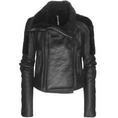 Rick Owens Biker Shearling and Leather Jacket