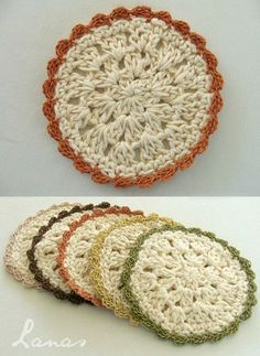 """(Crochet) As promised, here is the pattern for the """"Bloom Coasters""""… Red Coaster. Crochet Cross, Cute Crochet, Crochet Motif, Crochet Doilies, Crochet Yarn, Easy Crochet, Crochet Patterns, Crochet Coaster, Crochet Kitchen"""