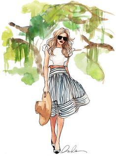 Modern Southern belle watercolor by Inslee