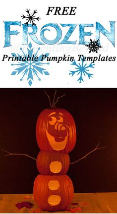 These are the only FROZEN Pumpkin Carving  Templates I've seen and they're FREE!!  Disney Stencil Printables (Elsa, Anna, Olaf, Kristoff)