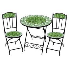 Three Piece Outdoor Bistro Dining Set With Hand Arranged Ceramic Tiles.  Includes One