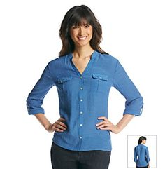 Notations® Lace Back Roll Sleeve Polyester/Spandex Shirt - Chambray - BonTon - Original Price 40 Dollars - Clearance Price 18