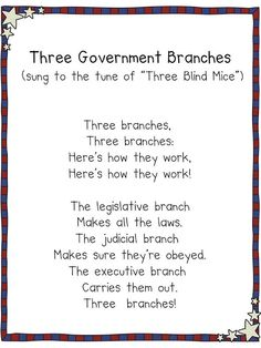 FREE From My Blog = Three Government Branches Song shown on smart board in my classroom for my kiddos to sing to. I was so surprised how this song really helped them retrieve this information regarding what each branch of government is reasponsible for.   www.3rdgradegrapevine.blogspot.com