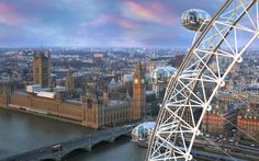 London Eye  //  Ticket office opens at 9:30 am. First rotation: 10 am. Last rotation (for July): 9:30 pm.  //  Cost for AnyTime Flexi (specific day not time) 27£ or $40.  //  Standard wait time: 45 min