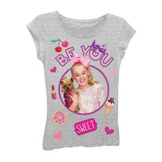 94dc9273 Asstd National Brand JoJo Siwa Girls' Be You with Dog and Emojis Short  Sleeve Graphic