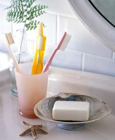 "Make a soap-box: a small seashell used as a ""leg"", and large seashell – as a holder for the soap."