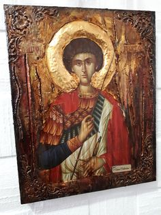 Saint St George Icon - Greek Russian Orthodox Byzantine Icon-Antique Style Icons Excited to share th Byzantine Art, Byzantine Icons, Greek Icons, Church Icon, Russian Orthodox, Orthodox Icons, Rare Antique, Style Icons, Saints