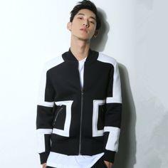 Simple geometric black bomber jacket men for autumn stand collar Printed Bomber Jacket, Black Bomber Jacket, High Fashion, Autumn, Stylish, Sweatshirts, Simple, Long Sleeve, Sleeves