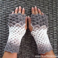 Crocodile stitch / dragon scale fingerless gloves crochet pattern.
