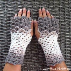 Crocodile stitch / dragon scale fingerless gloves crochet pattern.