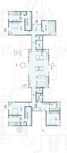 – Double Master Bedrooms - Stillwater Dwellings - square feet 1 Story 3 Bedroom 3 Bathroom Bigger then we need but like the private wings - Pool House Plans, Courtyard House Plans, House Plans One Story, Best House Plans, Dream House Plans, Modern House Plans, Story House, Courtyard Pool, The Plan