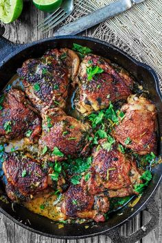 Cilantro-Lime Chicken Thighs - Perfectly flavored fall-off-the bone tender! This chicken recipe has quickly become a family favorite!
