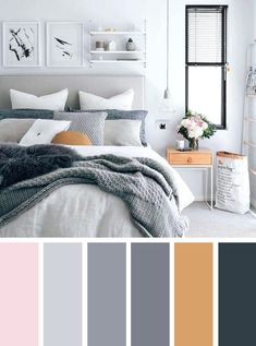 12 Best Color Schemes for Your Bedroom - neutral bedroom with pretty color schemes ,grey and blush bedroom color schemes #color #bedroom #colorcombos