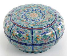 A large Canton enamel box and cover, China, Qianlong period.  photo courtesy Nagel    D. 34,2 cm. Slightly chipped, old overpainted losses to enamels - Estimate 5 000 €    Nagel Auktionen. Asian Art. November 5th 2010 www.auction.de