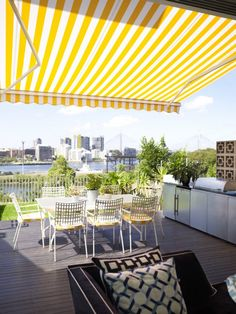 Awning in the backyard by Designer Greg Natale- backyard design ideas / Family F. Awning in the ba Outdoor Dining, Outdoor Spaces, Outdoor Chairs, Outdoor Decor, Mellow Yellow, Colour Yellow, Yellow Stripes, Bright Yellow, Patio Design