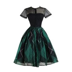 Vintage 1950s Jonny Herbert Plaid Dress | From a collection of rare vintage evening dresses at https://www.1stdibs.com/fashion/clothing/evening-dresses/