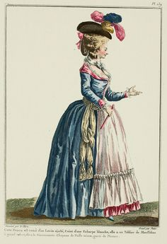 Galerie des Modes, 31e Cahier, 4e Figure. This Woman is dressed in a fitted Levite, Belted with a white Scarf, she has a Muslin Apron with a large volant, called à la Gouvernante.  Hat of tinted straw, trimmed with Plumes. (1780) Blog on fashion history and historical clothing.