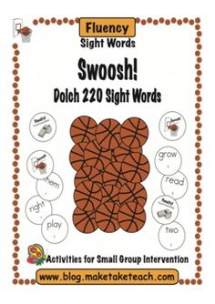 Fun sight word game for your basketball fans!