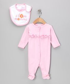 white pin dots on pink 'I Love Mommy' Footie & Bib by Mon Cheri Baby on #zulily today!