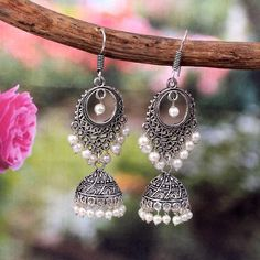 Your place to buy and sell all things handmade Indian Jewelry Earrings, Jhumki Earrings, Fancy Jewellery, Silver Jewellery Indian, Jewelry Design Earrings, Cute Jewelry, Silver Jewelry, Silver Jhumkas, Antique Jewellery
