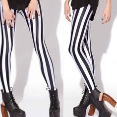 Run away and join the circus with these amazingly soft striped leggings. They are sexy, slimming and chic! The vertical stripes will elongate your legs ...