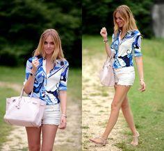 Birkin bag and Pucci shirt: perfect combination (by Chiara Ferragni) http://lookbook.nu/look/2179899-Birkin-bag-and-Pucci-shirt-perfect-combination