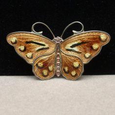 Earth Tones Detailed Enamel Norway Vintage Sterling Silver Hroar Prydz Butterfly Pin
