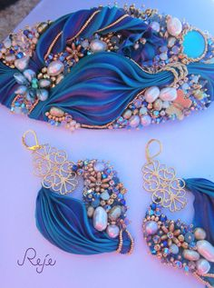 "Shibori silk set -earrings and bracelet ""Fairy Garden"" https://www.facebook.com/rejegioielliinsoutache www.rejesoutache.com"
