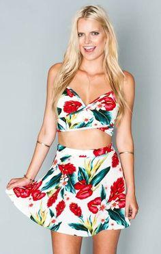 Show Me Your Mumu Cali Stretch Skirt ~ Flamingo Flower Stretch