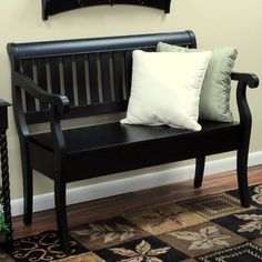 Features:  -Hand-crafted.  -Beautiful three step hand finish with rubbed edges for a worn unique look.  -Storage area under seat.  Bench Type: -Entryway bench.  Seat Material: -Wood.  Finish: -Antique