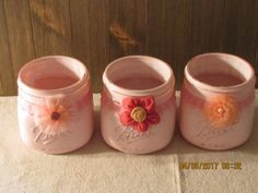 Set of 3 Pink Shabby Chic/Farmhouse style Mason Jars by BellaGraceBrocante on Etsy