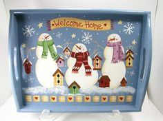 Items similar to Welcome Home Snowmen and Birdhouse Large Hand Painted Wood Tray on Etsy Country Christmas, All Things Christmas, Vintage Christmas, Christmas Projects, Holiday Crafts, Christmas Crafts, Snowmen Pictures, Christmas Shadow Boxes, Tole Painting Patterns