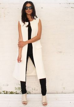 Premium Longline Collarless Sleeveless Duster Jacket in Soft Cream