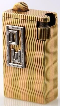 18K Cartier Lighter With Platinum & Diamonds