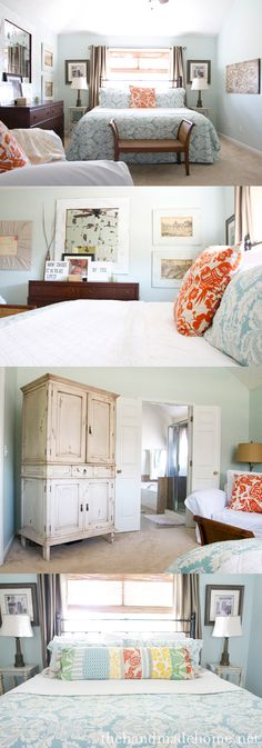 love the mulit colored pillow on the bottom bed.but my room would be just a little less tidy Home Bedroom, Master Bedroom, Bedroom Decor, Bee Cave, Lilly Pultizer, Organizing, Organization, Teal Orange, Pretty Bedroom