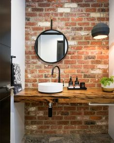 20 Masculine Bathroom Ideas With Exposed Brick Walls Bathroom Decor Ideas Bathroom Brick Exposed Ideas Masculine walls Brick Tiles Bathroom, Small Bathroom Sinks, Modern Bathroom Tile, Small Sink, Bathroom Tile Designs, Wood Tiles, Minimalist Bathroom, Shower Tiles, Rustic Tiles